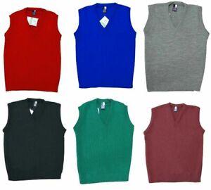 Boys Childrens V Neck Tank Top School Uniform Knitted Jumper Cardigan Sleeveless