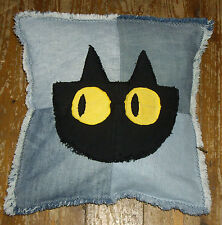 Cute Cushion Cover, Handmade Denim Cat Face  Denim Cushion Cover. Felix the Cat.