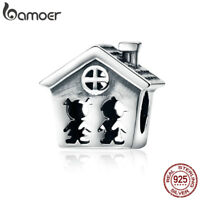 "BAMOER S925 Sterling silver Charm ""Home with love"" For DIY bracelet Jewelry"