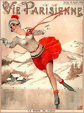 1929 La Vie Parisienne La Reine French France Travel Advertisement Poster