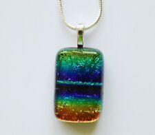 HANDMADE FUSED GLASS ART DICHROIC PENDANT NECKLACE JEWELLERY HANDMADE GIFTS UK