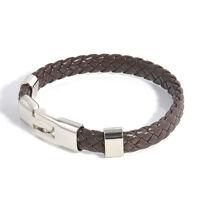Fashion Men Women Braided Leather Bracelet Magnetic Clasp Wristband Cuff Bangle