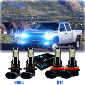 4X 8000k LED Headlight Kit Bulbs For Chevy Silverado 1500 2007-2015 Hi/Low Beam