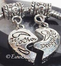 *2 PC Mother & Daughter Split Heart*_Beads for European Chain Charm Bracelet_i17
