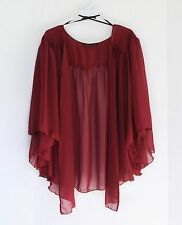 Womens BURGUNDY RED Plus Size 6X Chiffon Cardigan Bolero Shrug Top