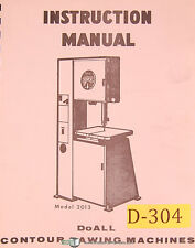 Doall 2013 and 2013-0, Contour Sawing Machine Instructions Manual 1972