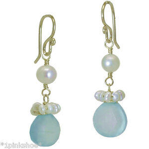 Sicily 322 ~Sea Blue Chalcedony & Pearl Earrings with Metal Choice