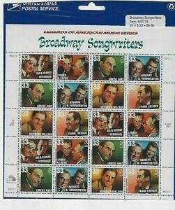 US Scott 3350a Broadway Songwriters Full Sheet  USA 1998