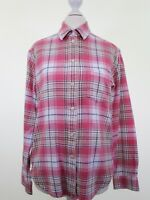 JACK WILLS pink thick soft brushed cotton tartan check casual shirt size 8 eu 36