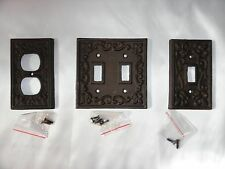 Cast iron switch plate set of 3 antique bronze switch shabby fleur de lis