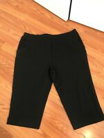 Denim & Co. Active French Terry Slim Leg Capri Pants Black Size XL