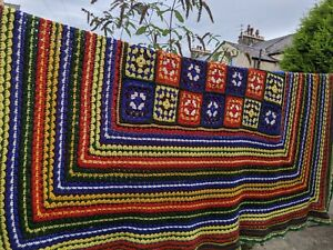 🌈Incredible Vibrant True Vintage Huge Handmade Crochet Knit Blanket Throw 70s