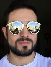 Mens Large Mirror So Reflected Metal Brow Bar Steampunk Hipster Sunglasses 10096