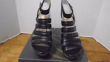 Enzo Angiolini Black Women's Shoes Pavonis 10 M Wedge Platform Leather New Weave