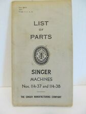 New listing 1937 Singer Sewing Machine Parts Book Nos. 114-37 and 114-38 Original
