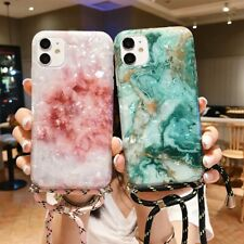 For iPhone 11 Pro Max XS 8 7 XR SE 2020 Marble Shell Case Silicone Strap Cover