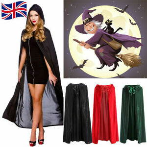 Halloween Hooded Velvet Cloak Robe Medieval Witchcraft Cape Robe Vampire Costume