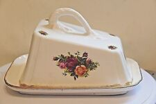 ROYAL ALBERT OLD COUNTRY ROSES ~ Large Impressive Cheese Dish ~ Gold Borders
