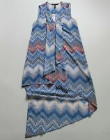 NWT BCBG MaxAzria Tara in ZigZag Ombre Sheer Chiffon Ruffle High Low Dress XS