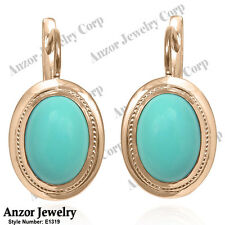 14k Solid Rose Gold Turquoise Russian Style Earrings #E1319