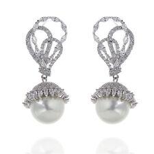 Boucles d`Oreilles Clous Plaqué Or Blanc CZ Filigrane Perle Mariée Mariage G 1