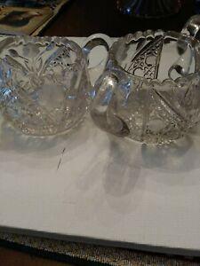 Heavy Lead Crystal Sugar And Creamer Set Starburst Design Cut Glass