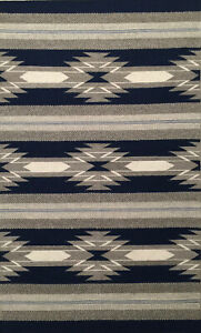 Gray & Blue Hand-Woven 100% Wool Kilim Southwestern Area Rug
