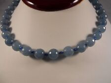 Sterling Silver, 8 mm faceted Round Blue Aquamarine Necklace With Fancy Clasp