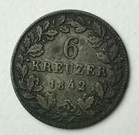Dated : 1842 - Silver Coin - German States - 6 Kreuzer - Wilhelm I
