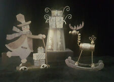 3 SILVER & GOLD FIGURINES REINDEER SNOWMAN & TOP HAT CHRISTMAS XMAS DECORATION