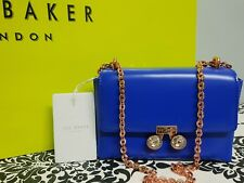 TED BAKER ADONI Crystal Bobble Leather cross body Bag Mid Blue RRP £129.99