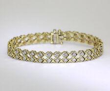 "Brazalete diamante 14K oro amarillo 2 filas beso"" X"" G color redondo brillantes"