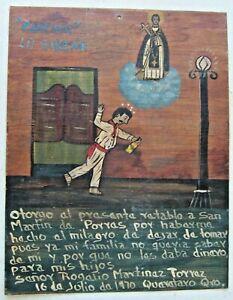 St Martin de Porres Retablo Tin Mexican Folk Art Painting Miracle Stop Drinking