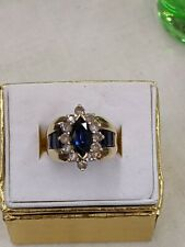 10k Yellow Gold Blue White Sapphire Solitaire w/Accents Statement Ring Sz: 6.75