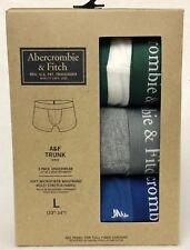 3 PK Abercrombie Fitch GREEN STRIPE GREY BLUE Men Boxer Briefs Underwear LARGE