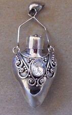 Handmade Sterling Silver Clear.Topaz Perfume-Keepsake-Crematio n Locket Pendant