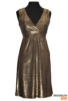 Gold Bronze Dress Women's Size Small Stretchy Cocktail Party Sleeveless Vneck