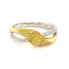 Real 0.33ct Natural Fancy Intense Yellow Diamonds Engagement Ring 18K Solid Gold