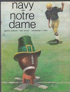 NOTRE DAME vs NAVY November 1,1980 College Football Program Giants Stadium NJ