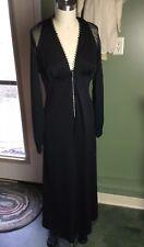 "47e3c8280269 1970 s Vintage 1 Pc Black Jumpsuit Palazzo Romper Sz Xs 4 Sheer Sleeves 52""  Leg"