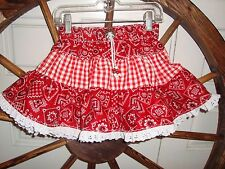 RED Bandana/Gingham Western Twirl Skirt Sz 2 Handmade by Kari NEW USA