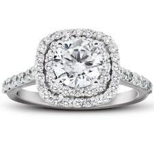 Vs 2 кар бриллиант подушка Halo обручальное кольцо 14k белое золото