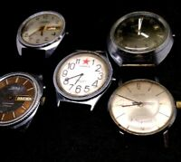 COLLECTION OF VINTAGE WATCHES OF THE USSR SLAVA,POLJOT,VOSTOK.LOT 5pc.NOT WORK