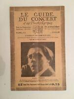 El Guía de La Concierto Y Las Teatro Letra Alfred Cortot N º 2 1928