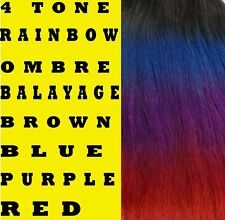 RAINBOW BALAYAGE OMBRE CLIP IN REMY HUMAN HAIR EXTENSIONS Black Blue Purple Red