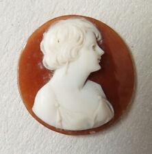 Camée sur coquille 19e siècle portrait femme pour broche pendentif cameo