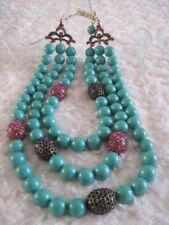 "HEIDI DAUS ""The Big Pretty"" (Turquoise) 3-Strand Station Necklace (Orig.$289.95)"