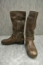 Bed Stu Leather Buckle Zip Boots, Women's Size 9, Brown