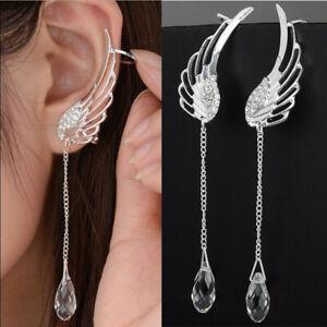 925 Silver Angel Wing Crystal Earrings Drop Dangle Ear Stud For Women Jewellery
