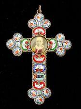 "Vintage Venetian Micro Mosaic Cross Pope Pius XII 4"""
